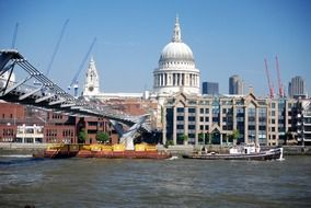 view from thames on the cathedral of saint paul