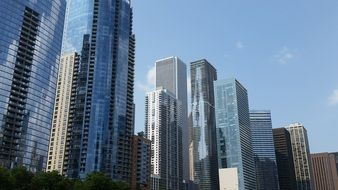 row of skyscrapers at downtown, usa, illinois, chicago