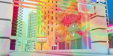 colorful abstract city, digital art