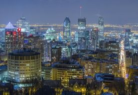 downtown at night, top view, canada, montreal