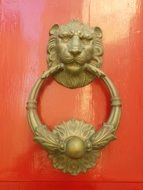 lion head, antique brass doorknocker, malta