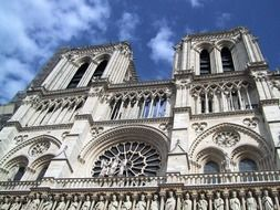 beautiful gothic Notre-Dame Cathedral at sky, france, paris