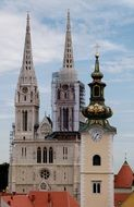 Cathedral of the Assumption towers at sky, croatia, zagreb