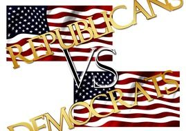 letterings and usa flags, republicans vs democrats, illustration