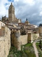 gothic cathedral in old town, spain, segovia