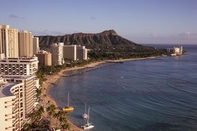 city and beach on ocean coastline, usa, hawaii, honolulu, waikiki