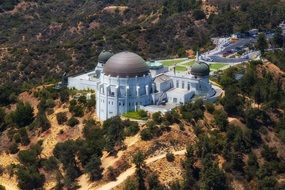 aerial view of griffith observatory, usa, california, los angeles