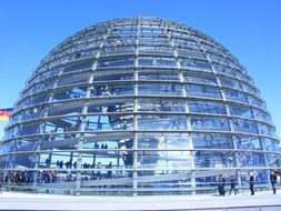 people in reichstag dome, germany, berlin