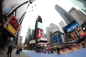 nyc new york city times square fisn eye view