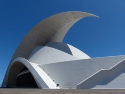 sickle-shaped facade at sky, auditorium of tenerife, spain, canary islands, santa cruz de tenerife
