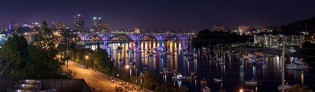 knoxville panoramic reflection lights river