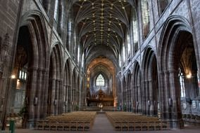 gothic interior of Chester cathedral, uk, england