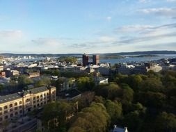 town hall and oslofjord in summer cityscape, norway, oslo