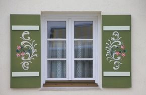 painted flowers on window shutters, peasant art, germany, bavaria
