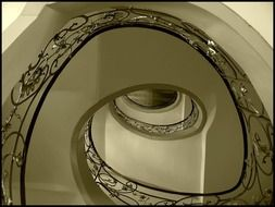 ornamental wrought iron fence of spiral staircase, germany, berlin