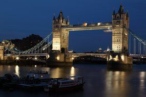 lights of tower bridge at night
