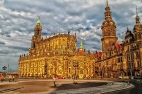 Palace Complex under cloudy sky, germany, dresden