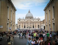 crowd of people at st peter's basilica, italy, rome, vatican
