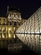 louvre pyramid with reflection at night, france, paris