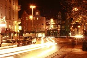 marburg city lights road night photograph