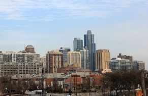 city skyline at winter, usa, illinois, chicago
