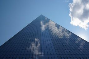 low angle view of world trade center skyscraper at sky, usa, new york city