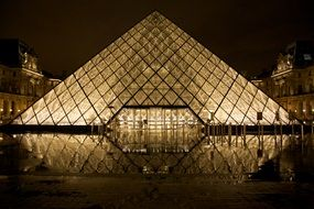 glass pyramid of paris louvre at night