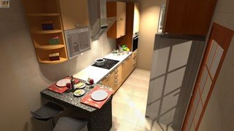 interior of small kitchen, visualization
