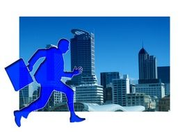 silhouette of running businessman at city, illustration