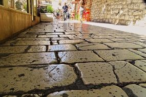 alley with marble pavement in old town, croatia, split