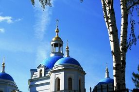 domes of orthodox cathedral at sky, russia
