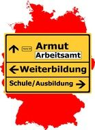 germany map yellow town sign traffic