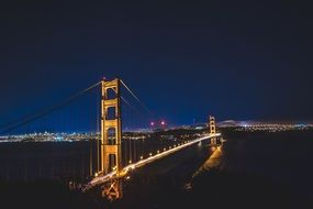illuminated golden gate bridge at night, usa, california, san francisco