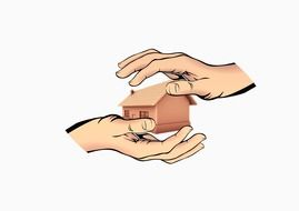 house in protection hands, illustration