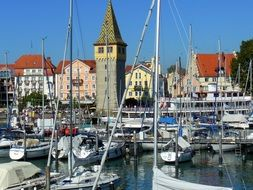 Sailing boats in the port of Lindau at Lake Constance