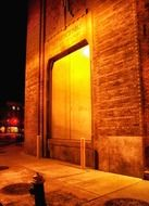 power substation building on sidewalk at night, usa, new york city, brooklyn
