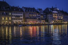 town center of lucerne at night