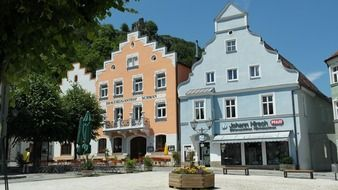 picturesque medieval buildings at park, germany, bavaria, riedenburg