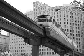 magnetic train in city, usa, washington, seattle