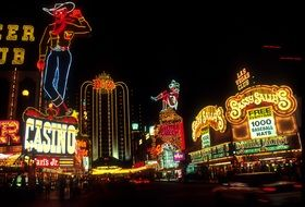 colorful neon lights at night street, usa, nevada, las vegas