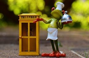 toy frog cook at phone booth, food order by phone