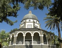 Church of the Beatitudes among trees, Israel, Tabgha