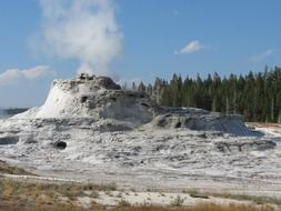 castle geyser in Upper Geyser Basin of Yellowstone National Park, usa, Wyoming