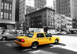 yellow taxi cab in downtown, usa, manhattan, new york city