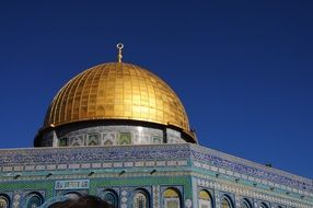 dome of the rock mosque at sky, israel, Jerusalem