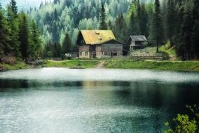 scenic landscape with spruce forest on mountain and village buildings at water, germany