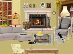 Living Room interior with sofa and armchair at Fireplace, illustration