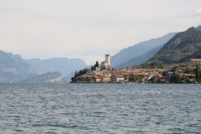 panorama of malcesine on garda lake