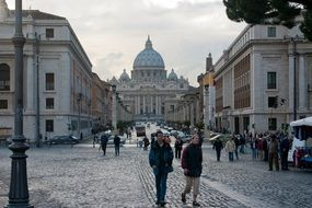 st peter's basilica in evening cityscape, italy, rome, vatican
