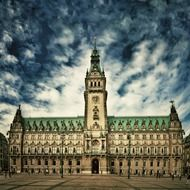 town hall, historical building at cloudy sky, germany, hamburg